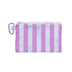 Stripes1 White Marble & Purple Colored Pencil Canvas Cosmetic Bag (small)