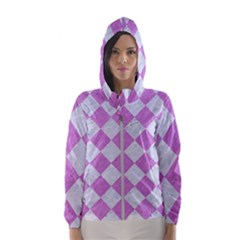 Square2 White Marble & Purple Colored Pencil Hooded Windbreaker (women)