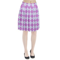 Square2 White Marble & Purple Colored Pencil Pleated Skirt