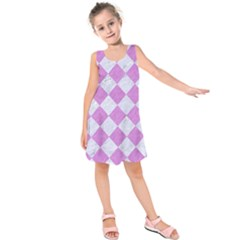 Square2 White Marble & Purple Colored Pencil Kids  Sleeveless Dress