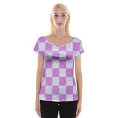 Square1 White Marble & Purple Colored Pencil Cap Sleeve Tops