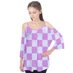 Square1 White Marble & Purple Colored Pencil Flutter Tees