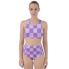 Square1 White Marble & Purple Colored Pencil Racer Back Bikini Set