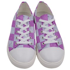 Square1 White Marble & Purple Colored Pencil Women s Low Top Canvas Sneakers