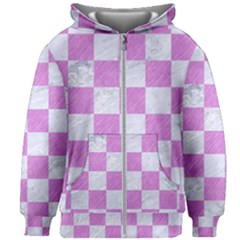 Square1 White Marble & Purple Colored Pencil Kids Zipper Hoodie Without Drawstring