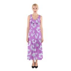 Skin5 White Marble & Purple Colored Pencil (r) Sleeveless Maxi Dress