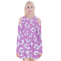 Skin5 White Marble & Purple Colored Pencil (r) Velvet Long Sleeve Shoulder Cutout Dress