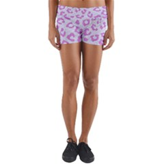 Skin5 White Marble & Purple Colored Pencil Yoga Shorts