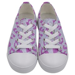 Skin5 White Marble & Purple Colored Pencil Kids  Low Top Canvas Sneakers