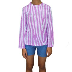 Skin4 White Marble & Purple Colored Pencil (r) Kids  Long Sleeve Swimwear