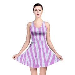 Skin4 White Marble & Purple Colored Pencil (r) Reversible Skater Dress