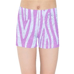 Skin4 White Marble & Purple Colored Pencil (r) Kids Sports Shorts