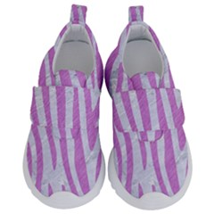 Skin4 White Marble & Purple Colored Pencil Velcro Strap Shoes