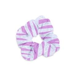 Skin3 White Marble & Purple Colored Pencil (r) Velvet Scrunchie