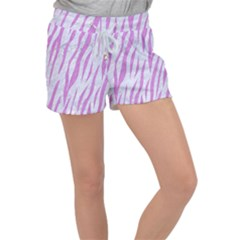 Skin3 White Marble & Purple Colored Pencil (r) Women s Velour Lounge Shorts