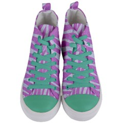 Skin3 White Marble & Purple Colored Pencil Women s Mid Top Canvas Sneakers