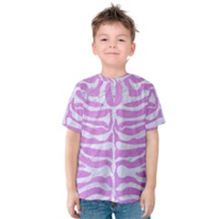 Skin2 White Marble & Purple Colored Pencil Kids  Cotton Tee