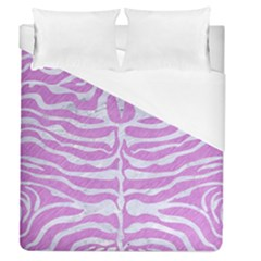 Skin2 White Marble & Purple Colored Pencil Duvet Cover (queen Size)