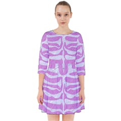 Skin2 White Marble & Purple Colored Pencil Smock Dress