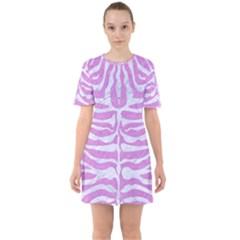 Skin2 White Marble & Purple Colored Pencil Sixties Short Sleeve Mini Dress