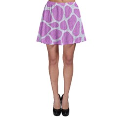 Skin1 White Marble & Purple Colored Pencil (r) Skater Skirt