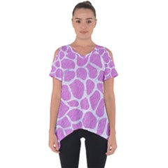 Skin1 White Marble & Purple Colored Pencil (r) Cut Out Side Drop Tee
