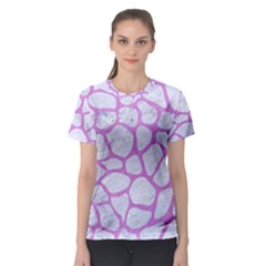 Skin1 White Marble & Purple Colored Pencil Women s Sport Mesh Tee