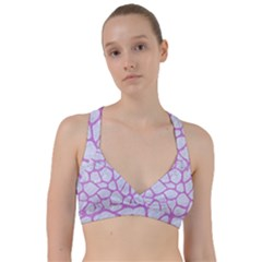 Skin1 White Marble & Purple Colored Pencil Sweetheart Sports Bra