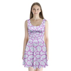 Skin1 White Marble & Purple Colored Pencil Split Back Mini Dress