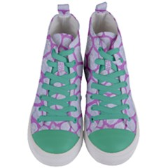 Skin1 White Marble & Purple Colored Pencil Women s Mid Top Canvas Sneakers