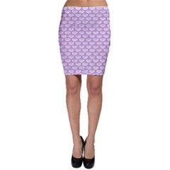 Scales3 White Marble & Purple Colored Pencil (r) Bodycon Skirt