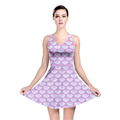 Scales3 White Marble & Purple Colored Pencil (r) Reversible Skater Dress
