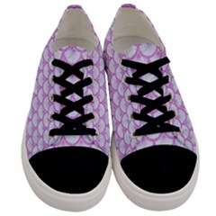 Scales3 White Marble & Purple Colored Pencil (r) Men s Low Top Canvas Sneakers