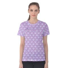 Scales2 White Marble & Purple Colored Pencil (r) Women s Cotton Tee