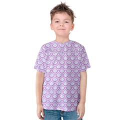 Scales2 White Marble & Purple Colored Pencil (r) Kids  Cotton Tee