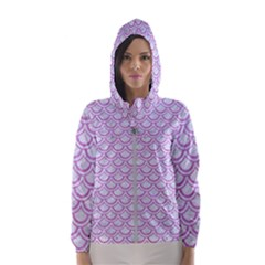 Scales2 White Marble & Purple Colored Pencil (r) Hooded Windbreaker (women)
