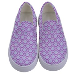 Scales2 White Marble & Purple Colored Pencil (r) Kids  Canvas Slip Ons