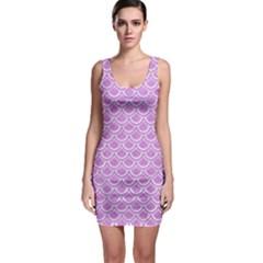 Scales2 White Marble & Purple Colored Pencil Bodycon Dress