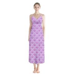 Scales2 White Marble & Purple Colored Pencil Button Up Chiffon Maxi Dress