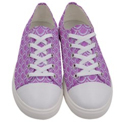 Scales2 White Marble & Purple Colored Pencil Women s Low Top Canvas Sneakers