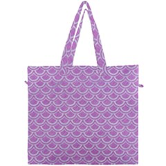 Scales2 White Marble & Purple Colored Pencil Canvas Travel Bag by trendistuff