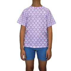 Scales1 White Marble & Purple Colored Pencil (r) Kids  Short Sleeve Swimwear