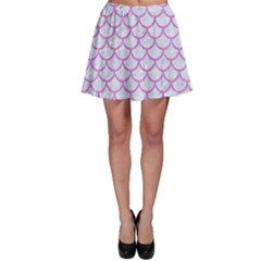 Scales1 White Marble & Purple Colored Pencil (r) Skater Skirt