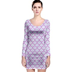 Scales1 White Marble & Purple Colored Pencil (r) Long Sleeve Bodycon Dress