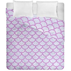 Scales1 White Marble & Purple Colored Pencil (r) Duvet Cover Double Side (california King Size) by trendistuff