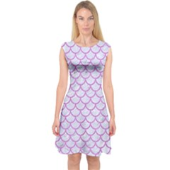 Scales1 White Marble & Purple Colored Pencil (r) Capsleeve Midi Dress