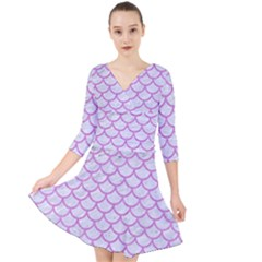 Scales1 White Marble & Purple Colored Pencil (r) Quarter Sleeve Front Wrap Dress