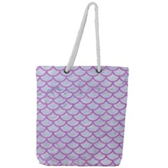 Scales1 White Marble & Purple Colored Pencil (r) Full Print Rope Handle Tote (large)