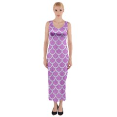 Scales1 White Marble & Purple Colored Pencil Fitted Maxi Dress