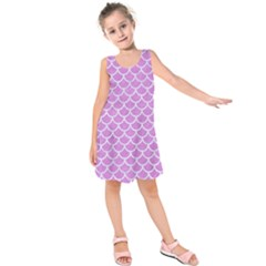 Scales1 White Marble & Purple Colored Pencil Kids  Sleeveless Dress